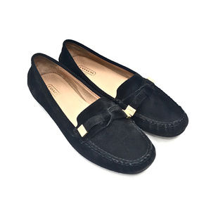 Coach Black Suede Loafers w/ Logo Gold Tip Tassels